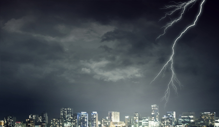 Natural landscape and lightning striking the sky Stock Photo