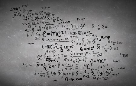Background conceptual image with science formulas on cement background Banque d'images
