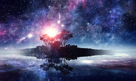 Abstract background image with space planets and starry sky.