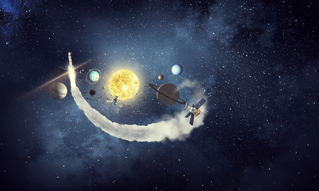 Astronomy concept with planets on dark starry background. Mixed media