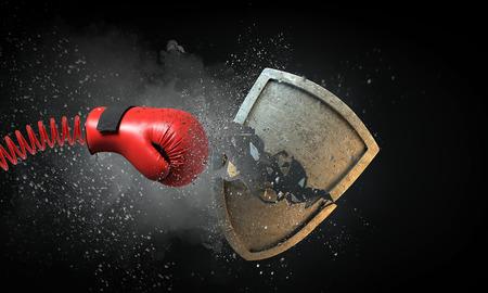 スプリングブレーキングコンクリートシールドに赤いボクシンググローブ。混合メディア 写真素材 - 97771157