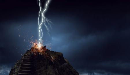 Lightning striking stone stairway going to sky. Mixed media