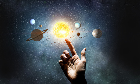 Background image with planets of sun system. Mixed media Stockfoto