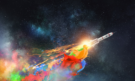 Rocket flying in starry space sky. Mixed media