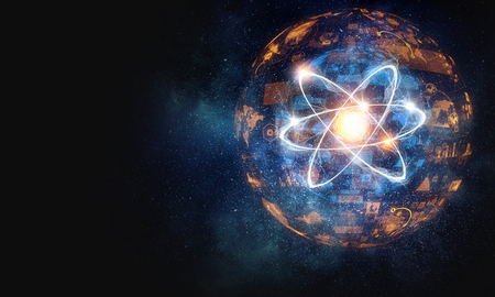 Atom molecule on space background as science concept. 3d rendering