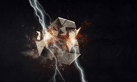 Lightning striking stone recycling symbol. Mixed media Imagens
