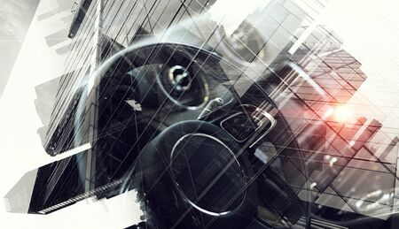 Double exposure of car and business concept. Mixed media