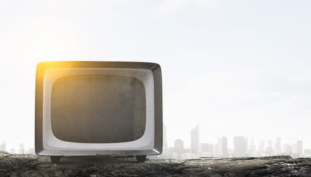 Grungy old TV set as concept for technologies development. Mixed media