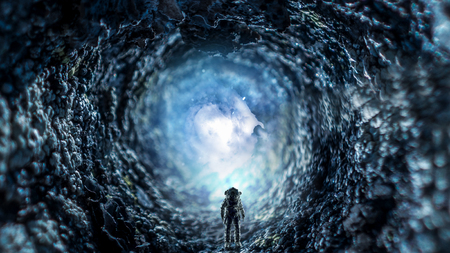 Fantasy image with astronaut in space hole. Mixed media Stock Photo