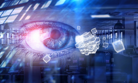 Human eye and digital media interface as cyberspace concept. 3d rendering
