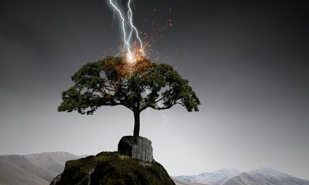 Natural landscape background with lightning striking tree