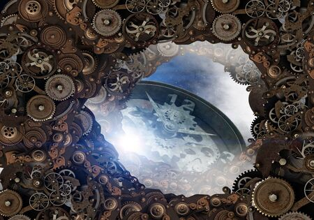 Conceptual image of construction and production with gears and cogwheels. Mixed media