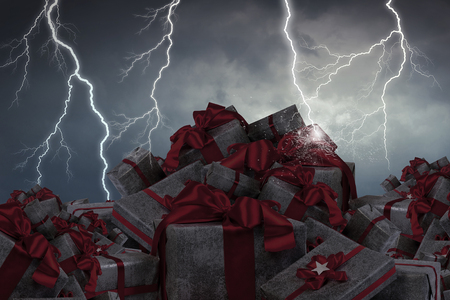Pile of gift boxes and lightning striking at background. Mixed media
