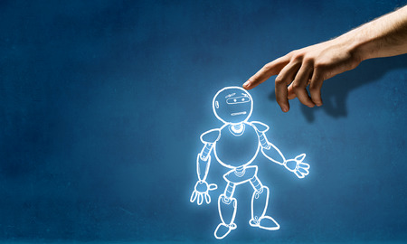 Human hand touching with finger robot sketched design 스톡 콘텐츠