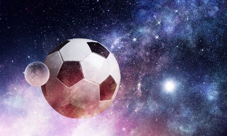 Soccer ball floating in space as planet Stok Fotoğraf - 98695910