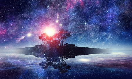 Abstract background image with space planets and starry sky. Elements of this image furnished by NASA