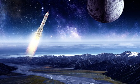 Rocket in space. Mixed media Stock Photo