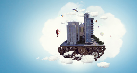 Concetto di città moderna. Media misti Archivio Fotografico - 98843080