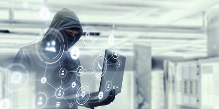 Computer privacy attack. Mixed media Stock Photo