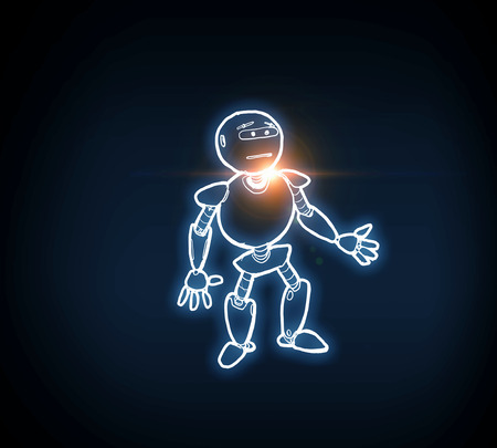 Funny childish drawn robot on dark background 版權商用圖片 - 99964024