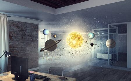 Planets of sun system in dark modern interior. Mixed media Stock Photo