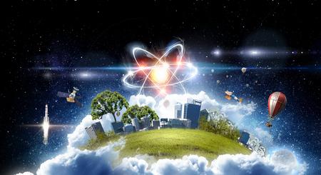 Atommolekül auf Raumhintergrund als Wissenschaftskonzept. Standard-Bild - 99979921