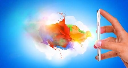 Smartphone with paint splash
