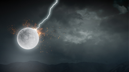 Lightning striking moon planet
