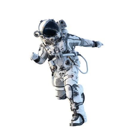 Spaceman in suit running on white background. Mixed media