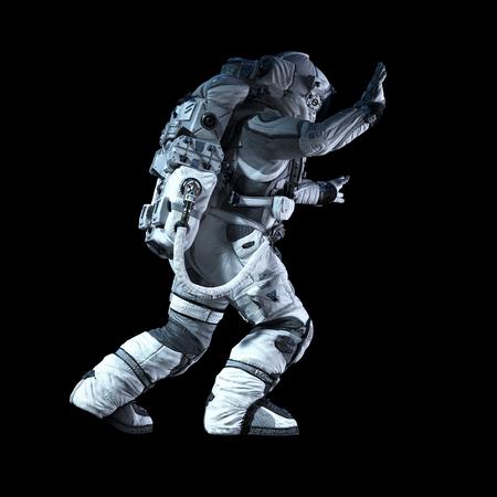 Astronaut in darkness. Mixed media Foto de archivo