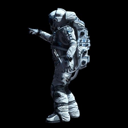 Astronaut in darkness. Mixed media Stock Photo