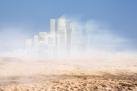 Mini cityscape construction exterior model. Mixed media