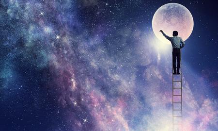 Man that get moon . Mixed media