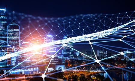 Moderne stadsgebouwen en verbindingsnet. 3D-weergave Stockfoto - 100425600