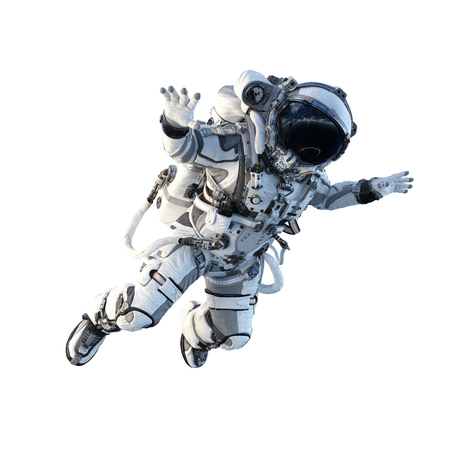 Spaceman in suit on white background. Mixed media Stok Fotoğraf