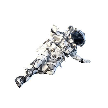 Spaceman in suit running on white background. Mixed media Stock Photo