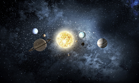 Astronomy concept with planets on dark starry background. Mixed media Banque d'images - 100475224