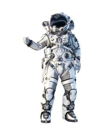 Spaceman in suit on white background. Mixed media 写真素材