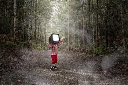 TV addicted children. Mixed media 스톡 콘텐츠 - 100910694