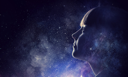 Girl on starry sky. Mixed media Stok Fotoğraf - 100910784