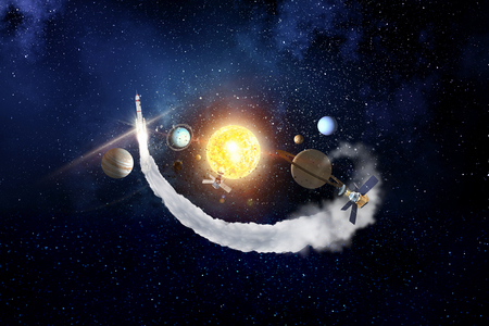 System of planets . Mixed media Banco de Imagens