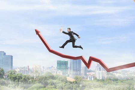 Climbing up to success. Mixed media 版權商用圖片