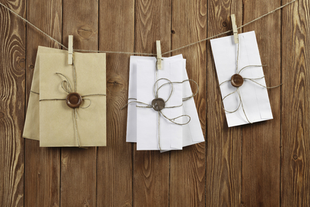 Envelopes pinned to rope