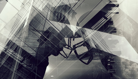 Double exposure of cityscape and rugby players. Mixed media Stok Fotoğraf - 101090117