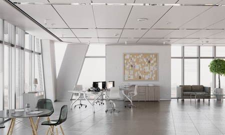 Stylish and simple office with furniture and no people. Mixed media