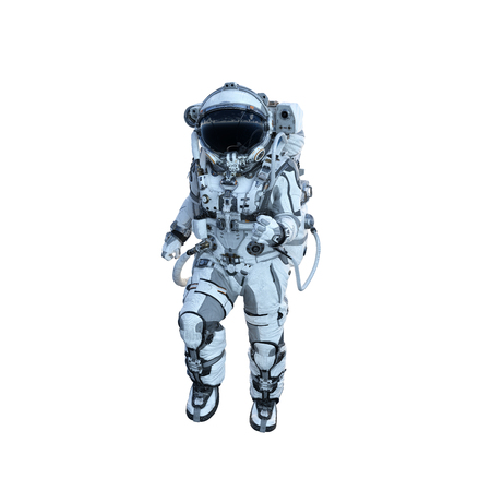 Spaceman in suit on white background. Mixed media Stock Photo