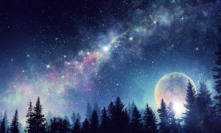 Background fantasy image with full moon in night glowing sky Stock Photo