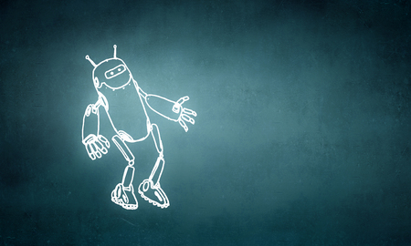 Funny childish drawn robot on blue background 版權商用圖片