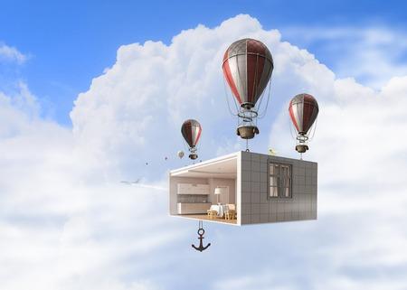 Room interior flying high in sky on aerostats. Mixed media