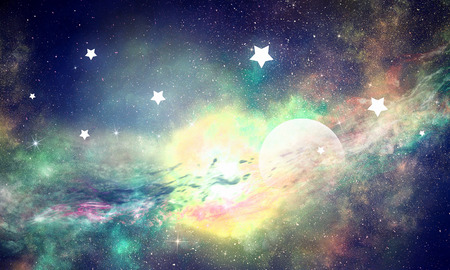 Background image with glowing sky and star dust